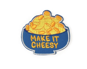 Make it Cheesy Patch | mac and cheese patch, iron on patch, patches for jackets, patches for bags, embroidered patch, macaroni and cheese