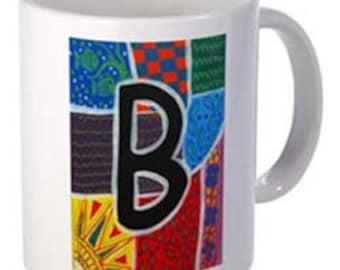 """Coffee Mug- Monogram """"B"""" - 15 oz.-By Artist A.V.Apostle"""