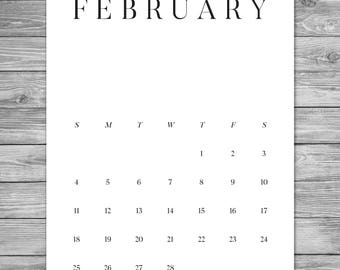 2018 2019 Printable Minimalist Monthly Calendar, Desk Calendar, Wall Calendar, Calendar Template, Calendar Download, A4, 8.5 x 11