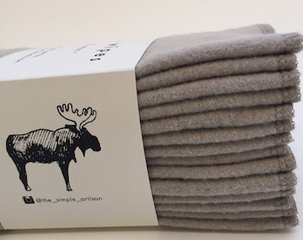 Cloth Wipes Family Cloths Zero Waste Reusable Cloth Wipes Cloth Napkins Baby Cloth Wipes Family Cloth Unpaper - 12 or 30 Packs - Taupe