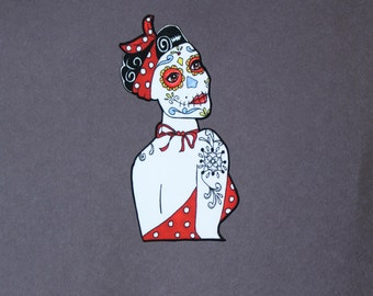 Day of the Dead Girl with tattoo car sticker # 131