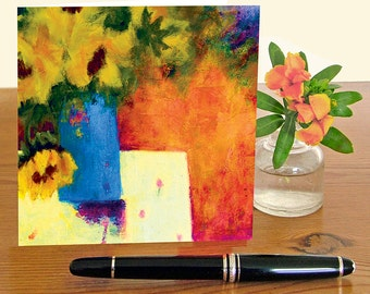 One blank artist greetings card, for all occasions, from an original still life of sunflowers