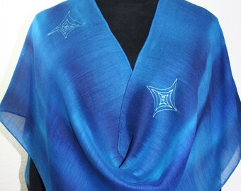 Blue Turquoise Silk-Wool Shawl BLUE HUG, Warm Silk-Wool Scarf by Silk Scarves Colorado.  Select Your SIZE!  Bridesmaid Gift, Mother Gift.
