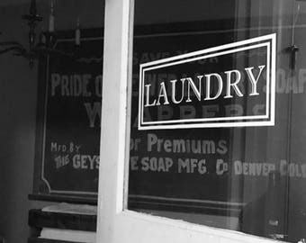 Laundry Vinyl Decal - laundry room decal Laundry Door Decal Glass Door Decal vinyl lettering Rectangle Border Fame Decal Traditional Decor