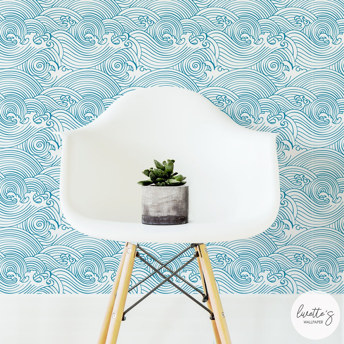 Waves Removable Wallpaper / Nautical Traditional Or Self