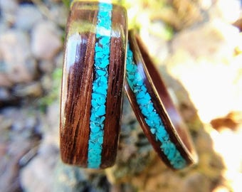 Matching Indian Rosewood and Turquoise Wedding Band Set, Matching wood wedding band set, Matching promise ring set, matching bentwood rings,