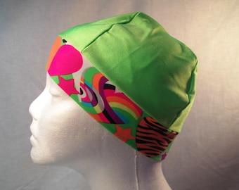 Child beanie lime cap multicolor band snug fit,