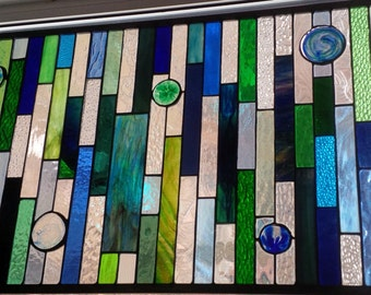 Beautiful Blue green stained glass window panel