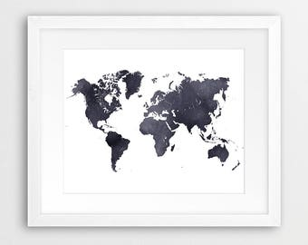 World Map Watercolor Print, World Map Watercolor Black And White Poster, Modern Wall Art, Home Office Decor, Travel Poster, Printable Art