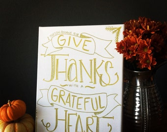 give thanks canvas art | HAND PAINTED
