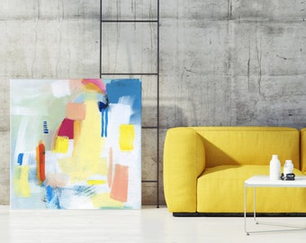 """Abstract Painting, Giclée Print, Acrylic Painting, Abstract Art, Modern Painting, Painting with Yellow Blue Orange and White, """"JUNGLE II"""""""