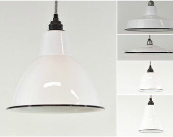 Enamel light shade etsy brilliant white enamel vintage factory industrial warehouse style light lamp shades 5 shapes aloadofball