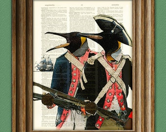 Penguin Art Print A Colony of Penguins illustration Animal Groups Collection upcycled dictionary page book art print