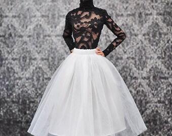 ELENPRIV ivory tutu ballet midi skirt for Poppy Parker and similar body size dolls
