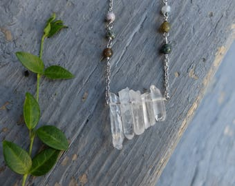 Long Quartz Necklace with Silver Stainless Steel Chain / quartz crystal necklace