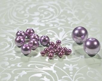 Purple Glass Pearls, 5 sizes, #1208/1209/1210/1211/1212