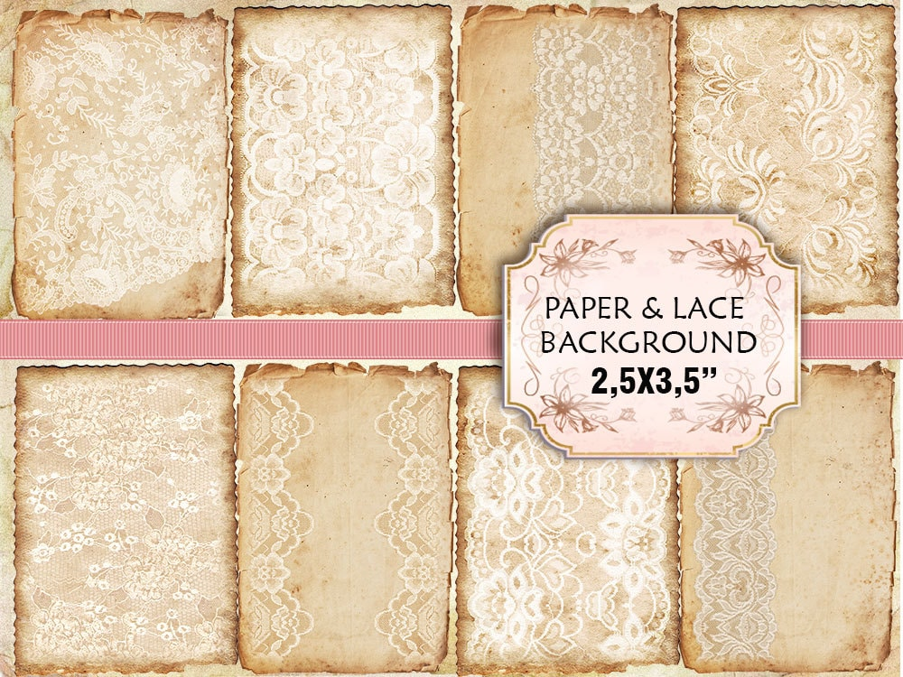Old Paper Lace Vintage Backgrounds Shabby Chic Scrapbook Decoupage 368