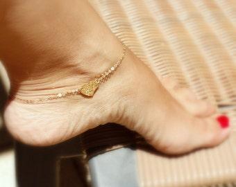 Heart anklet for women -  Heart ankle bracelet - Heart anklet - Heart jewelry - Gold Heart -  Gold ankle bracelet