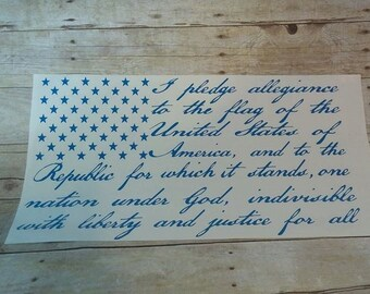 Pledge of Allegiance American Flag car decal