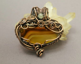Agate Pendant copper wire agate pendant Copperwire wirewoven wirewrapped Gemstone Jewelry Costume Jewelry Antique-Acting jewelry