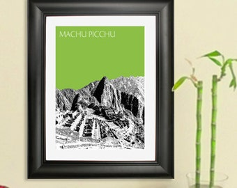 Machu Picchu Poster - Machu Picchu Peru Art Print - 8 x 10 Choose Your Color