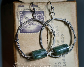 Strung-Out guitar string hoop earrings with Seraphinite