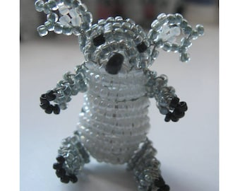 Miniature Koala seed beads and copper wire