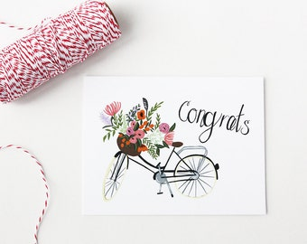 Greeting Card - Bike - Congrats - Basket of Florals - Foliage - Congratulations - Note - Card - Greeting - Friendship