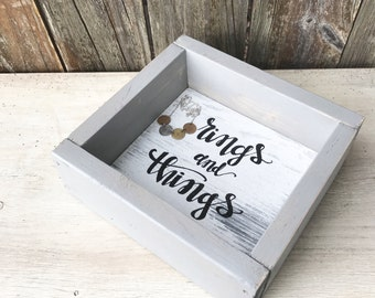 Women's Valet Tray, Jewelry Box, Rustic Valet Tray, Bridesmaid Gift, Catchall