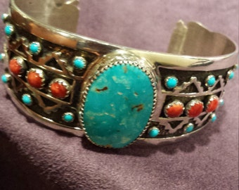 Navajo cuff sterling turquoise and coral bracelet