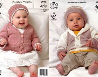 "King Cole Knitting Pattern 3988~Jacket, Cardigan & Hats~4ply~12-18"""