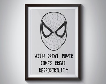 Spider Man Black White Print, Art Print, Wall Art, Poster, Motivational Quote, marvel quote, Avengers