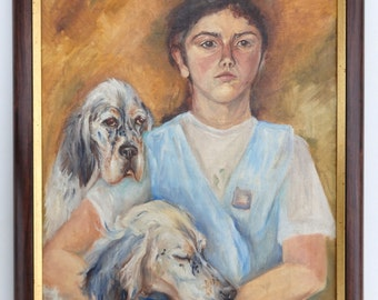Custom  DOG Portrait with owner Oil painting from photos Hand painted on canvas HUMAN PORTRET Couple portrait Art Comissioned Wedding gift