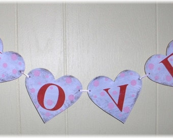 Valentine Love Hearts Garland Banner Shabby Chic Wedding Anniversary Romantic  Red And Pink Custom Colors Wood Sign
