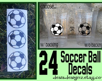 24 soccer ball vinyl decals soccer sports party Birthday party decoration sports balls birthday party vinyl cup sticker party cup stickers