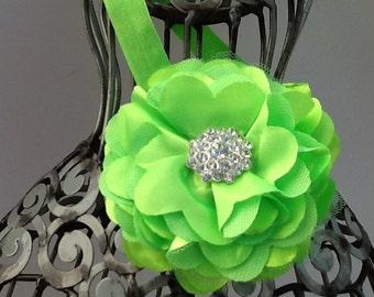 Neon lime green headband, green flower headband, girls headband, flower headband, baby headband, hair flower lime green hair accessory