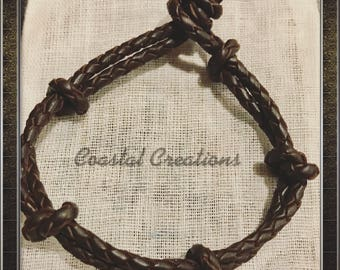 Braided and knotted Leather Bracelet #298
