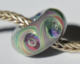 NEW DESIGN - Unique Handmade Lampwork European Charm Bead with Silver Glasses - SRA - Coring Options - Fits all charm bracelets