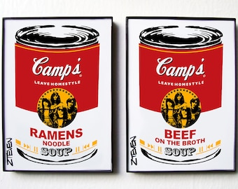 RAMONES Pop Art Soup, framed original art set of 2 by Zteven