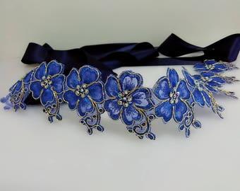 Blue rhinestone bridal sash, Wedding gown sash, Dress sash, Lace belt, Floral sash, Jeweled sash, Beaded belt, Flower sash, Bling belt