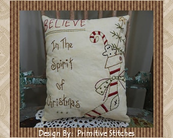 Believe-In The Spirit of Christmas--Primitive Stitchery E-PATTERN by Primitive Stitches-Instant Download