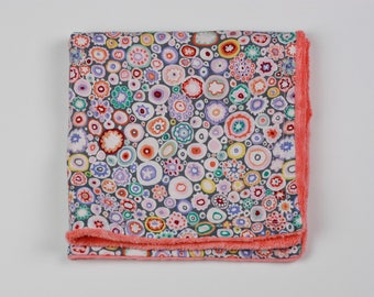 Tiny Flower Blossoms Security Blanket Lovie with Coral Minky Dot