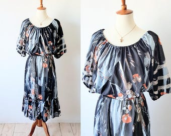 Vintage Sheer Floral Dress Black Abstract Peasant Dress Lace Trim Elastic Waist Midi Dress Ruffles Blouson Puff Sleeves 70s Boho Hippie Sz L