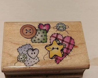 Retired Rubber Stamp   -  Button's and Patches