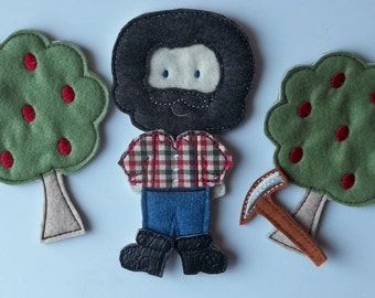 Felt Board Little Red Riding Hood Woodsman Set Busy Quiet Book Woodsman Doll, Outfit, Boots,  and forest of two trees