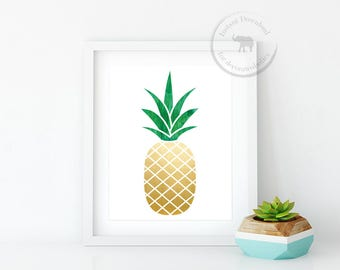 Pineapple Digital Download Pineapple Print Tropical Prints Tropical Art Summer Print Pineapple Wall Art Pineapple Printable Instant Download