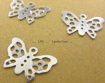 6 small pendants - silver Butterfly - Sun 16x10mm prints # S8