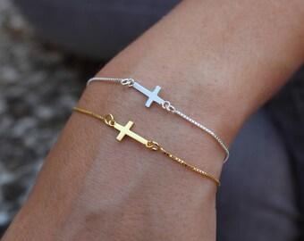 Cross Bracelet, Dainty Bracelet, Tiny Bracelet, Bracelet For Women, Minimalist Bracelet, Gift For Her, Silver Bracelet, Bracelet