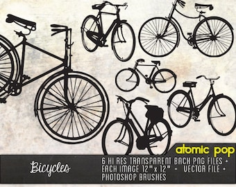Instant Download // Vintage Black Silhouette Bicycles// Digital File Photoshop Brushes // Vector