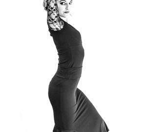 SPANDEX black ruffled flamenco skirt.